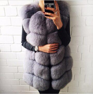 Victoria Fur Vest Stone Gray